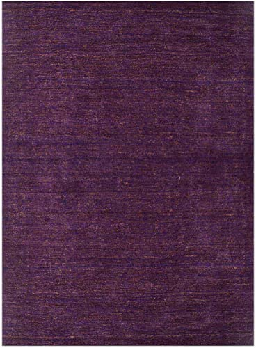 Rugsotic Carpets Hand Knotted Gabbeh Wool 9' x 12' Area Rug Solid Purple Gold LSM111 - the best living room rug for the money