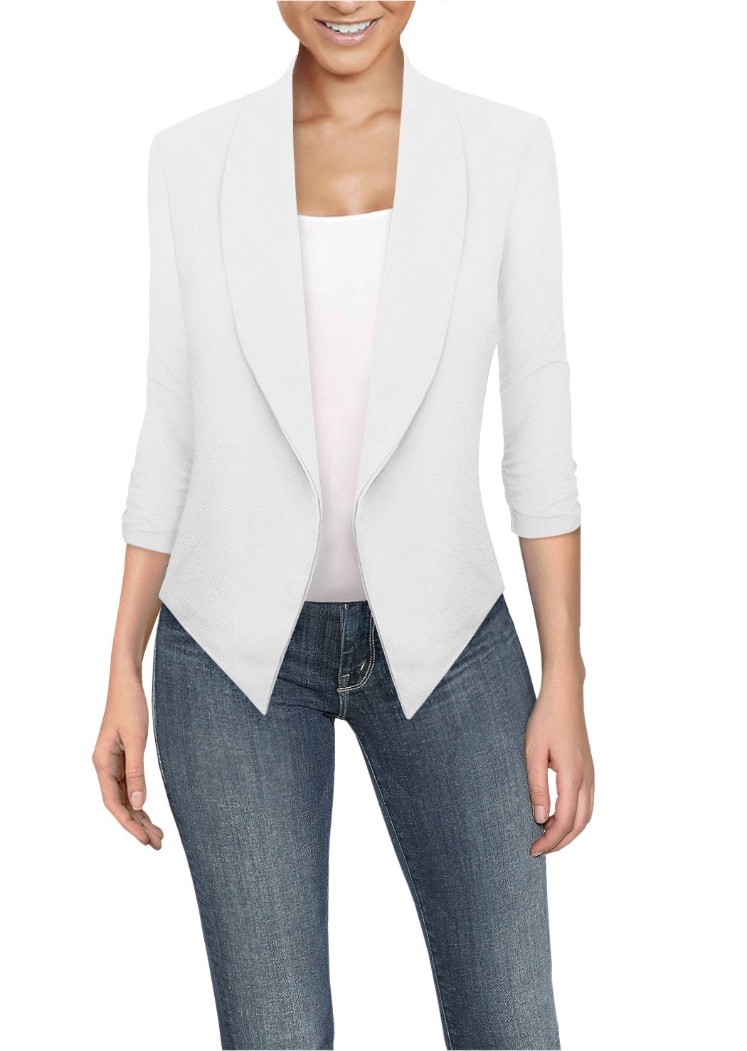 HyBrid & Company Womens Casual Work Office Open Front Blazer JK1133 White M