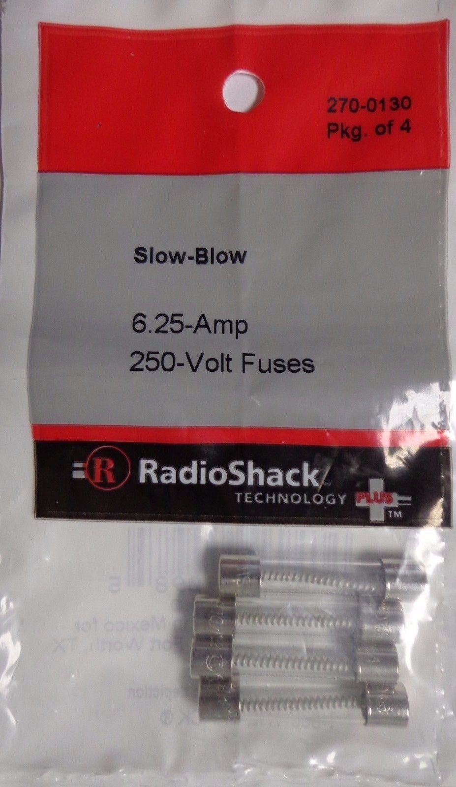 RadioShack Slow-Blow 6.25-Amp 250-Volt Fuses Pack Of 4, 270-0130 -2