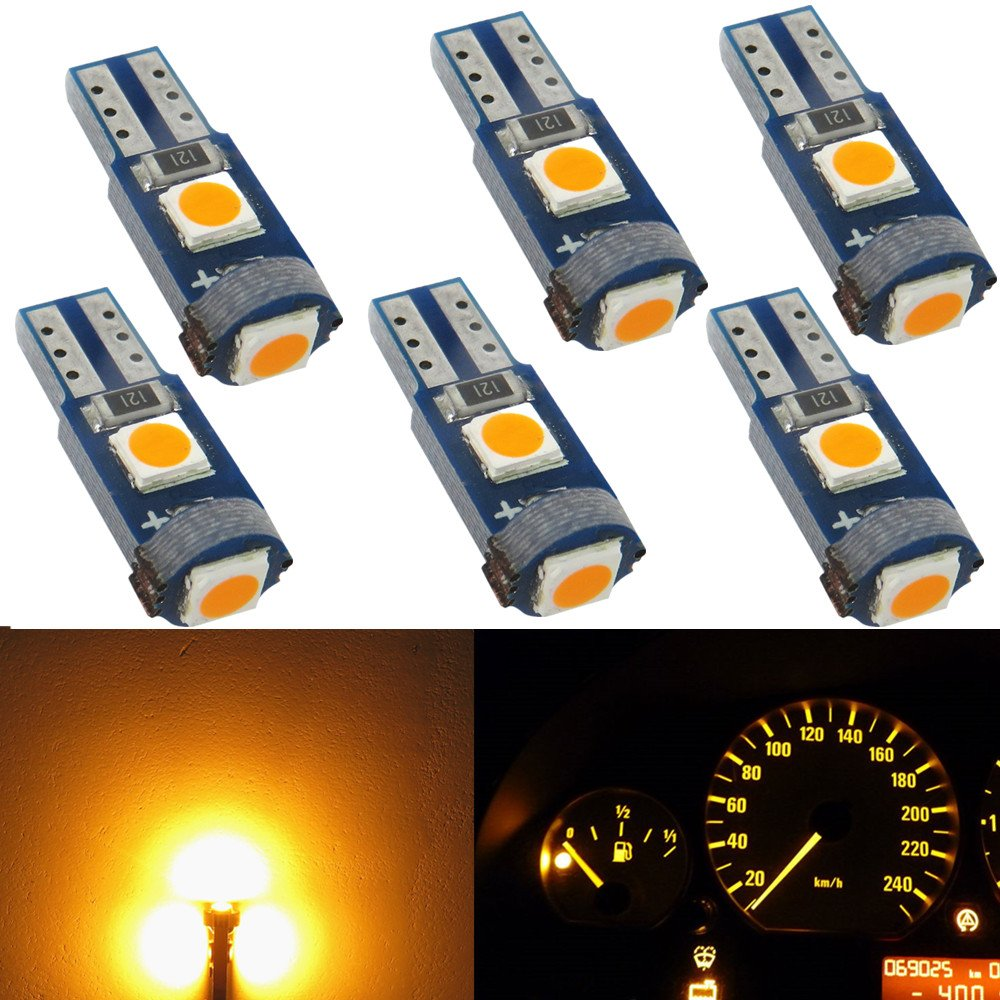 WLJH 6 Pack T5 LED Bulb Yellow 74 73 17 2721 Canbus Error Free 3-SMD 3030 LED Gauge Cluster Dashboard Indicator Light Bulbs, Plug and Play