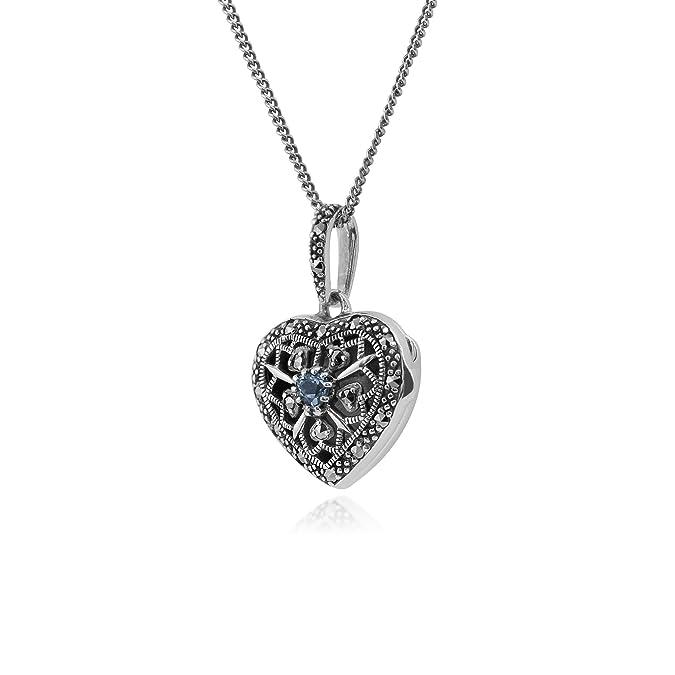 Gemondo Necklace, Sterling Silver Aquamarine & Marcasite March Birthstone Heart Locket Necklace