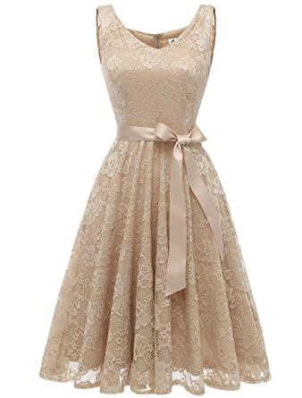 AONOUR AR8008 Womens Floral Lace Cocktail Party Dress Short Prom Dress V Neck Champagne-L