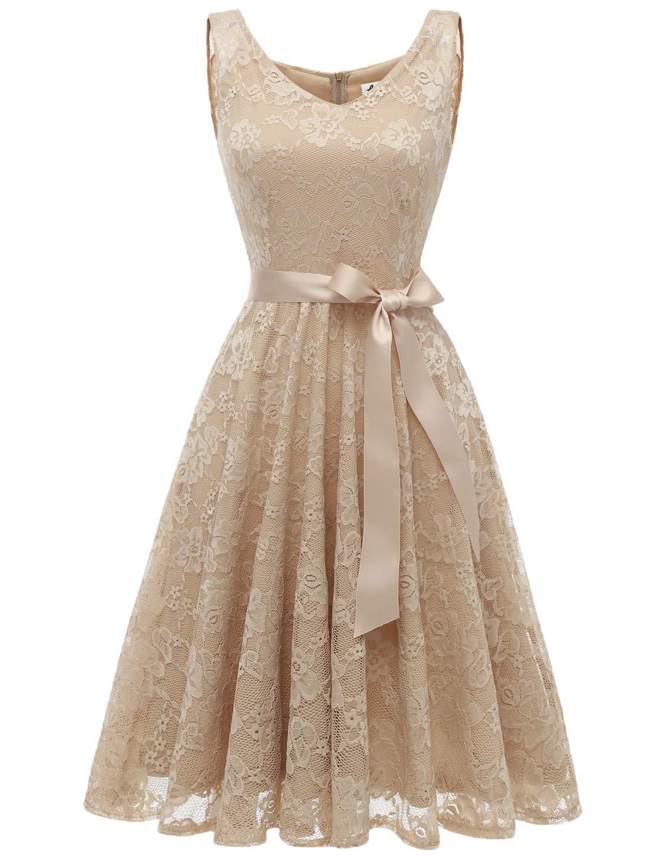 AONOUR AR8008 Women's Floral Lace Cocktail Party Dress Short Prom Dress V Neck Champagne 2XL