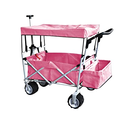 PINK PUSH AND PULL HANDLE FOLDING STROLLER WAGON OUTDOOR BEACH SPORT COLLAPSIBLE BABY TROLLEY W/ CANOPY GRAY GARDEN UTILITY SHOPPING TRAVEL CART - FREE ICE COOLER BAG - EASY SETUP NO TOOL NECESSARY: Toys & Games