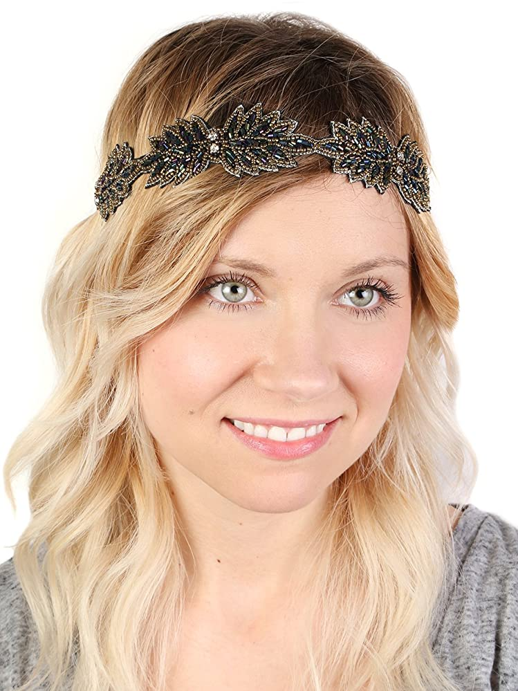 Funky Junque s Beaded Festival Holly Leaf Stone Stretch Headband Hair  Accessory b91f483d13f