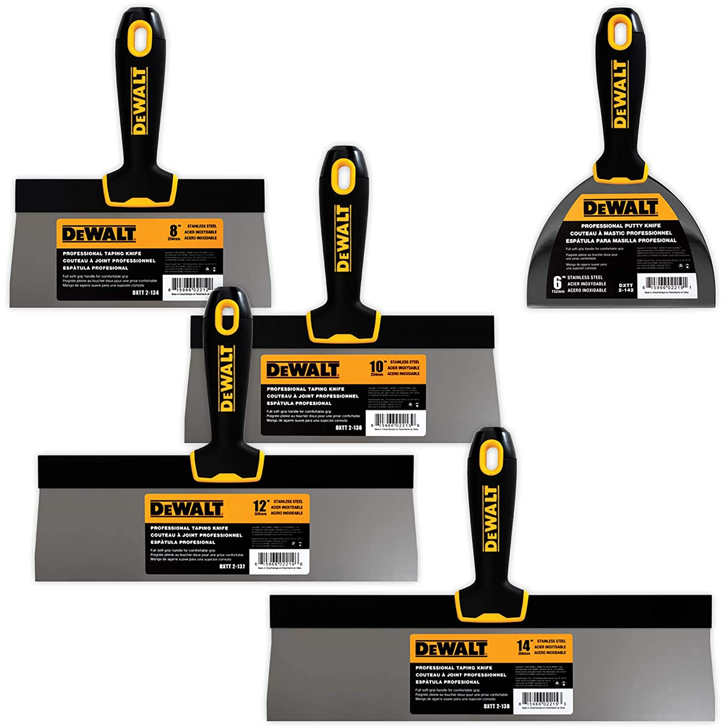 "DEWALT Stainless Steel Taping Knife 4-Pack + FREE BONUS 6"" Soft Grip Putty Knife 