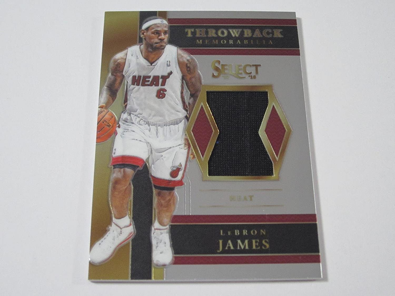 ebd387481e0 Amazon.com: LeBron James Heat 2017-18 Panini Select Throwback Game Used  Jersey Copper Prizm - Panini Certified - Basketball Game Used Cards: Sports  ...