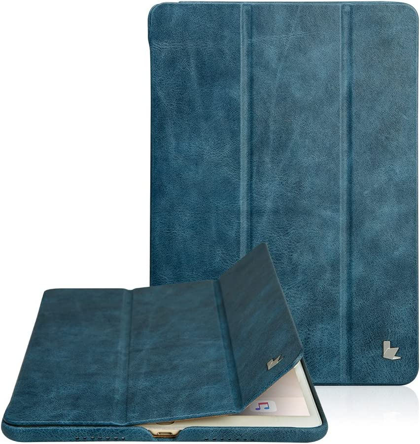 Jisoncase Classic Series Compatible Apple New iPad Pro 10.5 Case Vintage Genuine Leather Smart Cover Magnetic Flip Case with Auto- wake/ Sleep Function, Noble Blue ( JS-PRO-20A46)