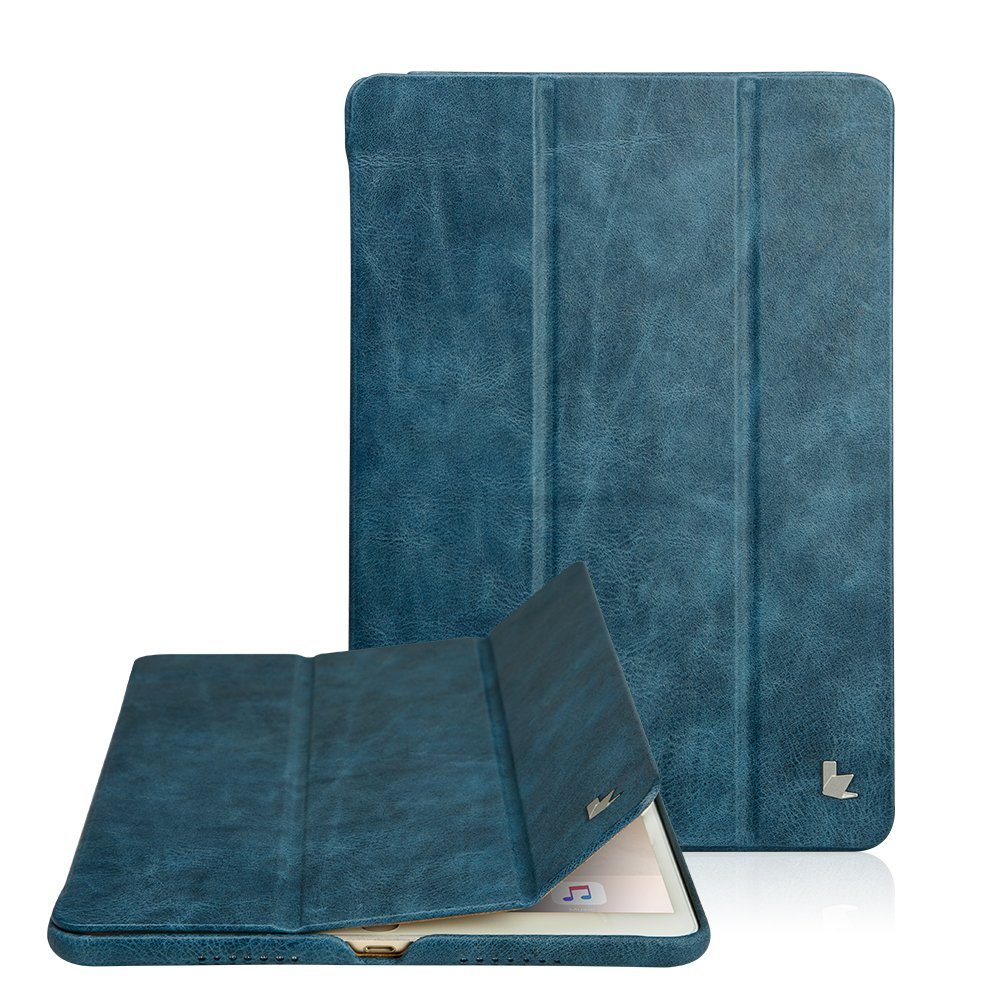 Jisoncase Classic Series Apple New iPad Pro 10.5 Case Vintage Genuine Leather Smart Cover Magnetic Flip Case with Auto- wake/ Sleep Function, Blue ( JS-PRO-20A46)