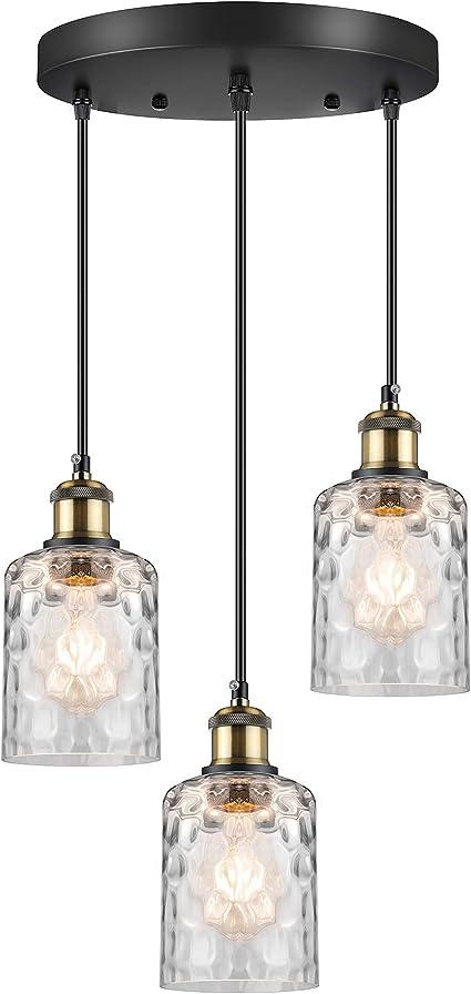 WENFENG 3-Light Pendant Lighting, Adjustable Hanging Light Fixtures, Flush Mount Ceiling Chandelier, Water Ripple Glass Shade E26 Bronze Base, for Kitchen Island Hallway Dinning Room