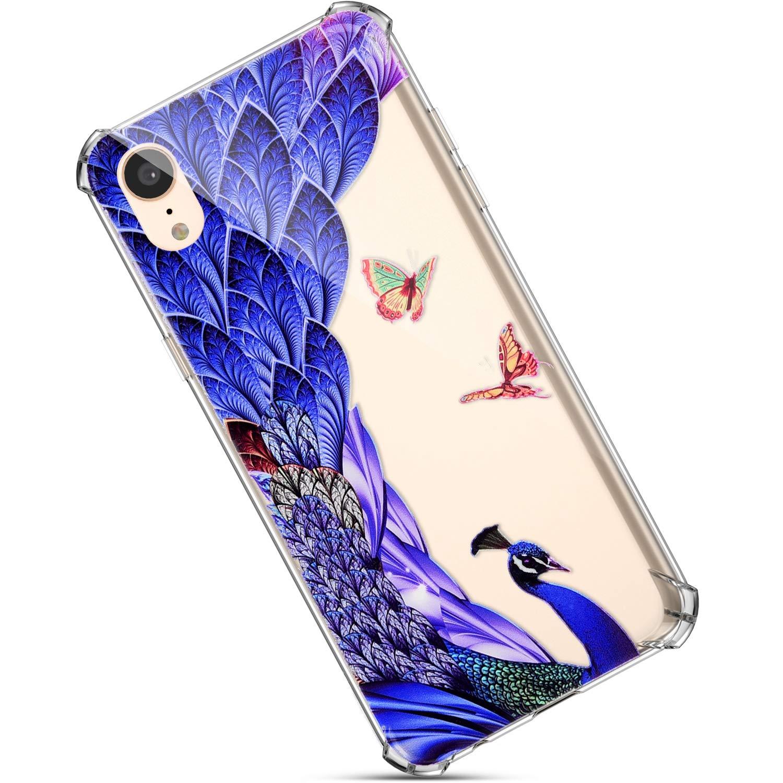 Bling Cover Compatibile con iPhone XR Custodia Trasparente Silicone,Ultra Sottile Slim Morbido Cover Painted Creative Design Fiori Farfalla Modello Brillantini TPU Case.Leone