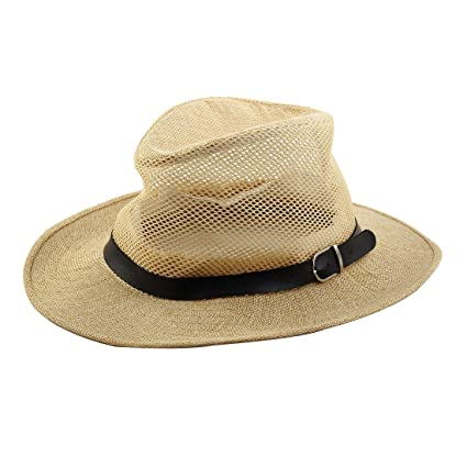 19cd5e4d4cf38 uxcell Men Summer Outdoor Linen Faux Leather Band Decor Wide Brim Western  Style Beach Mesh Cap