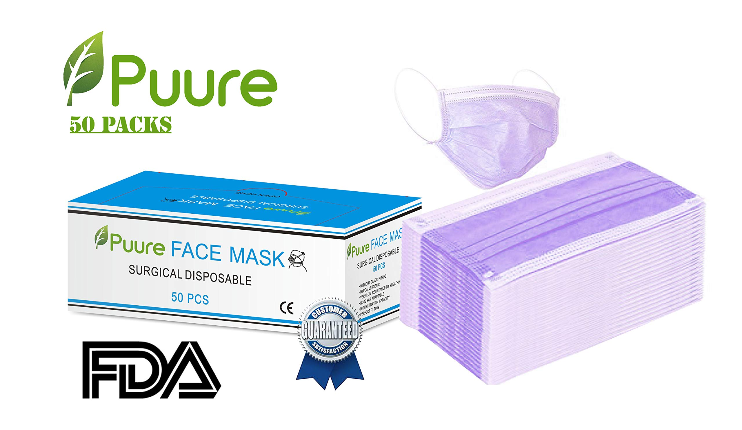 Puure Earloop disposable medical face masks, filtered face mask, surgical masks disposable antiviral. Pack of 50