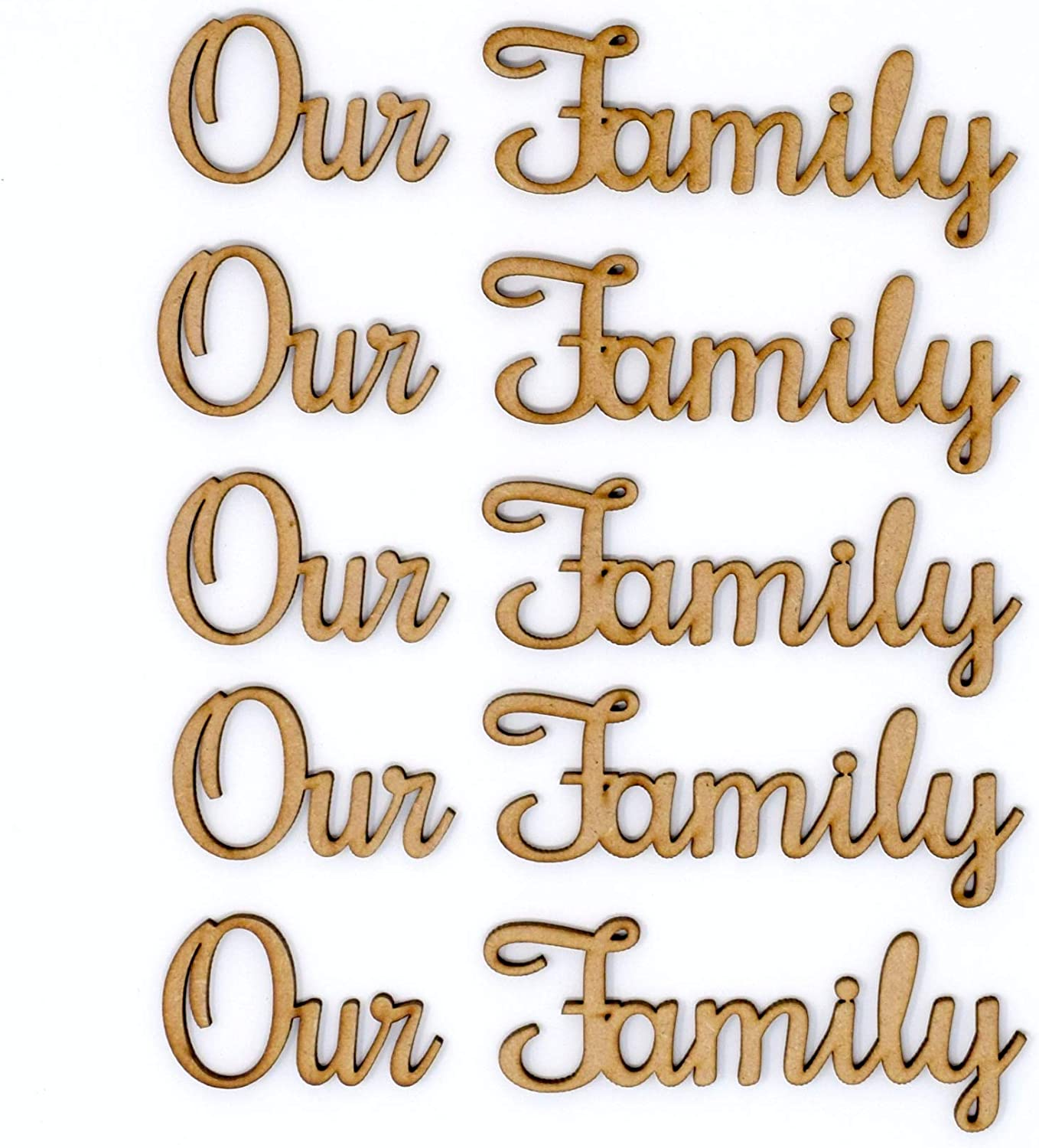 Wooden MDF Our Family Word Script for Family Tree Crafts Pack of 5 3cm Tall