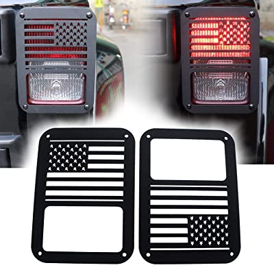 """""""American US Flag"""" Tail Light Covers Guards Protectors for 2007-2020 Jeep Wrangler JK Unlimited Accessories -Pair: Automotive [5Bkhe0918446]"""