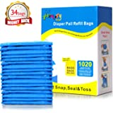 HOMOFY Diaper Pail Refill Bags 34 Bags Holds Up to 1020 Diapers Fully Compatible with Arm&Hammer Disposal System Seal…