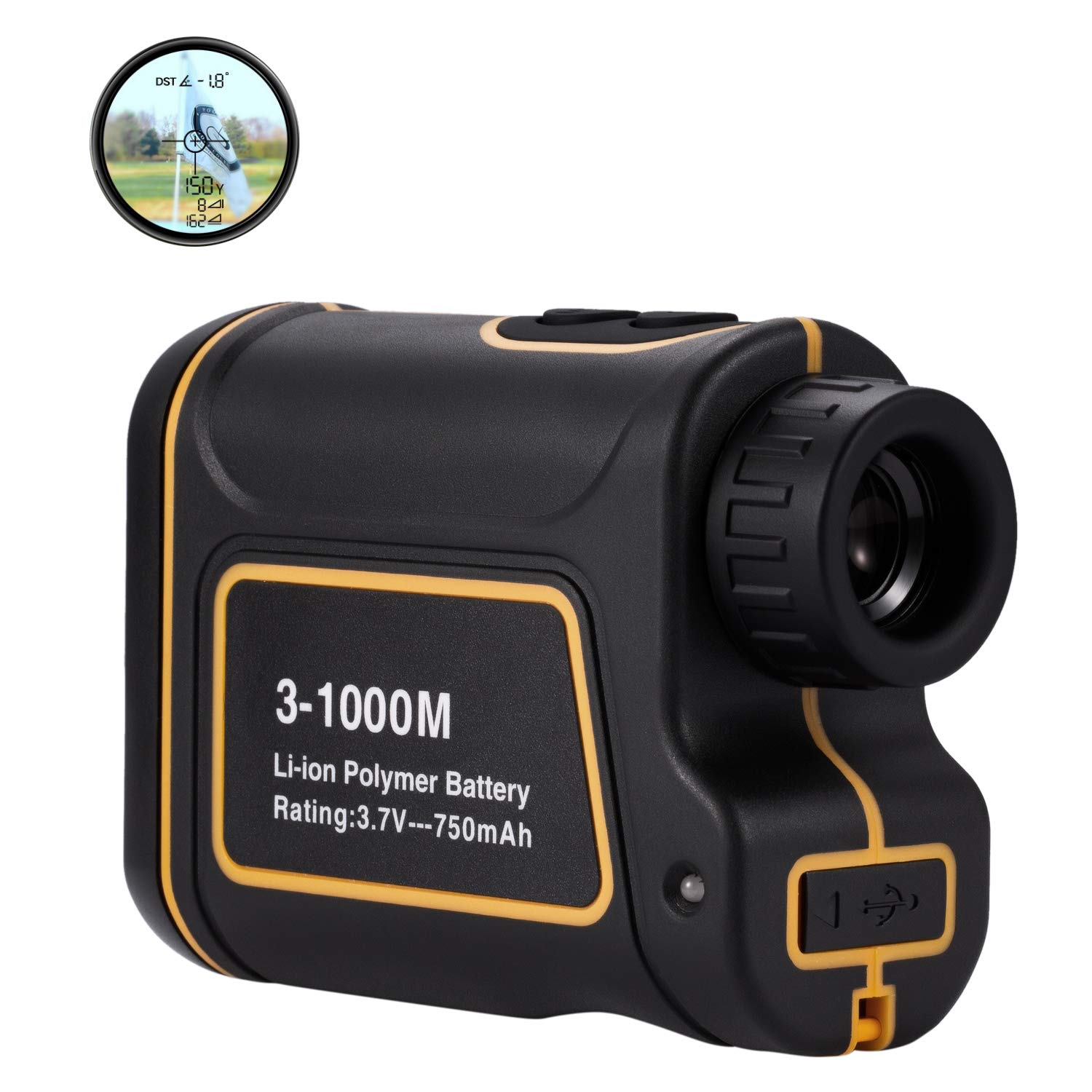 AbdTech Compact Golf Range Finder, USB Charging Rangefinder with 6X Magnification 1096 Yard, Support Flag Pole Lock Horizontal Vertical Angle Speed Scan Measurement Fits Hunting Golf Course Hiking by AbdTech
