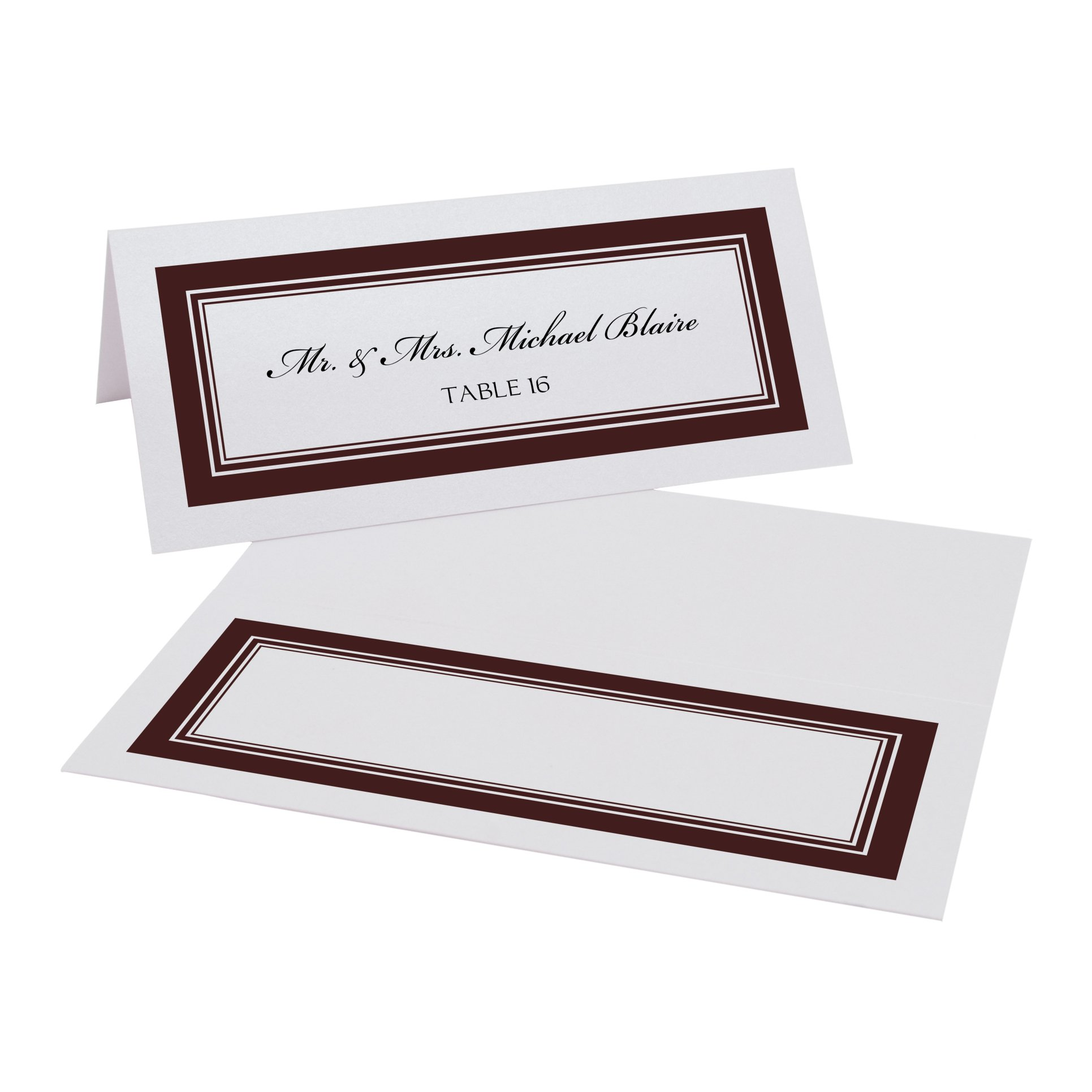 Triple Line Border Place Cards, White, Chocolate, Set of 375 by Documents and Designs