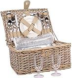 2 Personen Weiden Picknickkorb Picknickkoffer Set Besteck, Wein Gläser, Teller