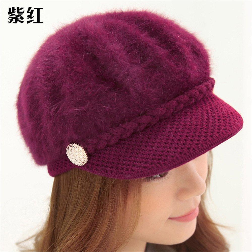 Las mujeres son el otoño y el invierno Gorra femenina todos-match hat hat cap elastic ear cálida mujer [56-59cm] jefe,violeta
