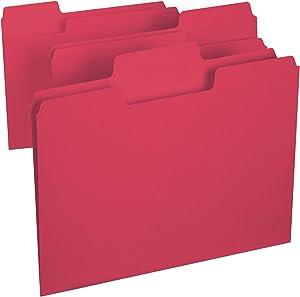 Smead SuperTab File Folder, Oversized 1/3-Cut Tab, Letter Size, Red, 100 per Box (11983)