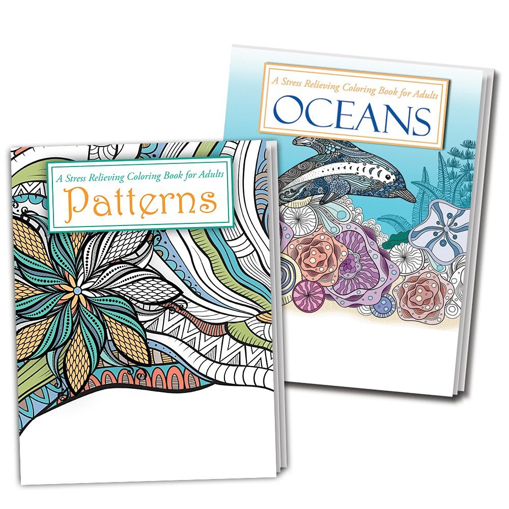 OCEANS and PATTERNS Adult Coloring Books - 2 Pack - Beautiful Ocean and Pattern Designs to Color Safety Magnets 4336982411