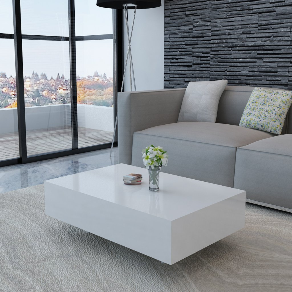 White high gloss coffee table 85 cm amazon kitchen home geotapseo Image collections