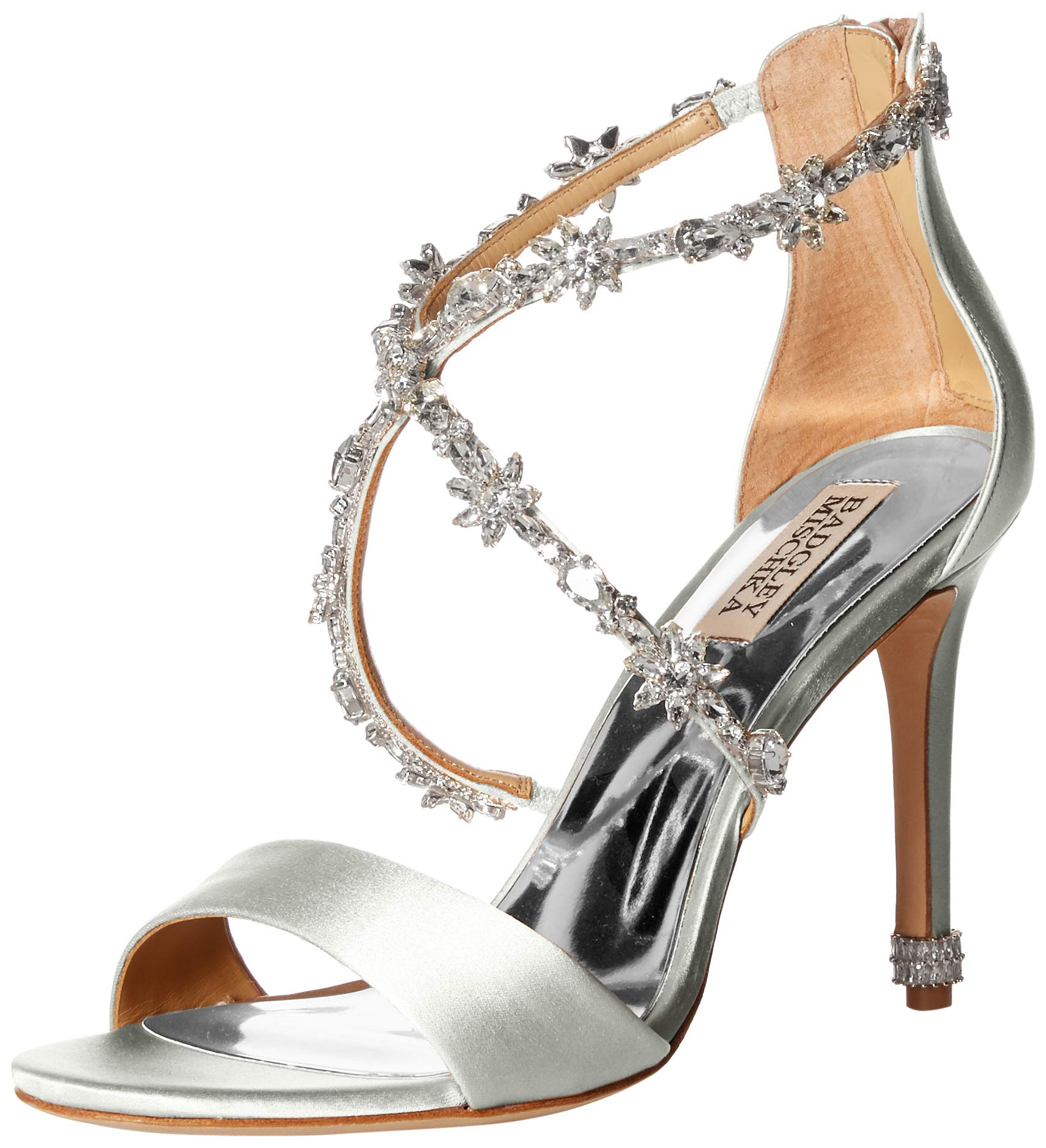 Badgley Mischka Women's Venus Heeled Sandal, Soft White Satin, 6 M US