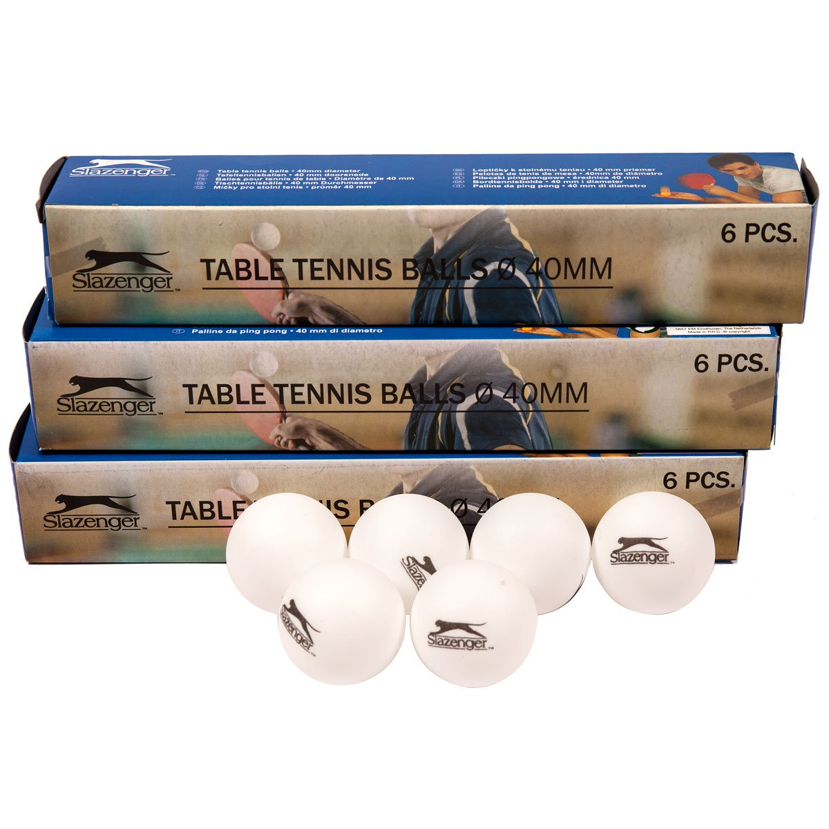 Slazenger Lot DE 24 balles de Tennis de Table Ping Pong Plastique Blanc uni Sports Ballon d'entraînement avec Logo 40 mm de diamètre – Lot DE 24