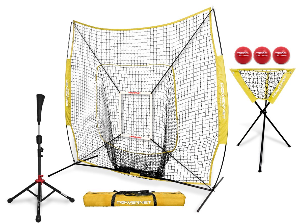 PowerNet 7x7 DLX Practice Net + Deluxe Tee + Ball Caddy + 3 Pack Weighted Ball + Strike Zone Bundle (Yellow) | Baseball Softball Coach Pack | Pitching Batting Training Equipment Set | 7' x 7'