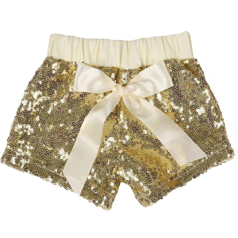 Cilucu Girls Shorts Toddler Sequin Shorts Sparkles on Both Sides Gold 4T