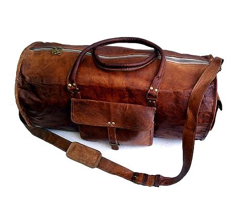 61 cm Alto calidad Hecho a mano Grande Vintage Bolso de cuero Bolsa de viaje  Bolsa 2d90e389cbc43