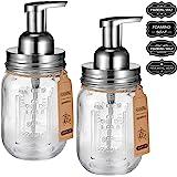 Mason Jar Foaming Soap Dispenser -Rustproof Stainless Steel Lid/BPA Free Foam Pump-Waterproof Chalkboard Labels…