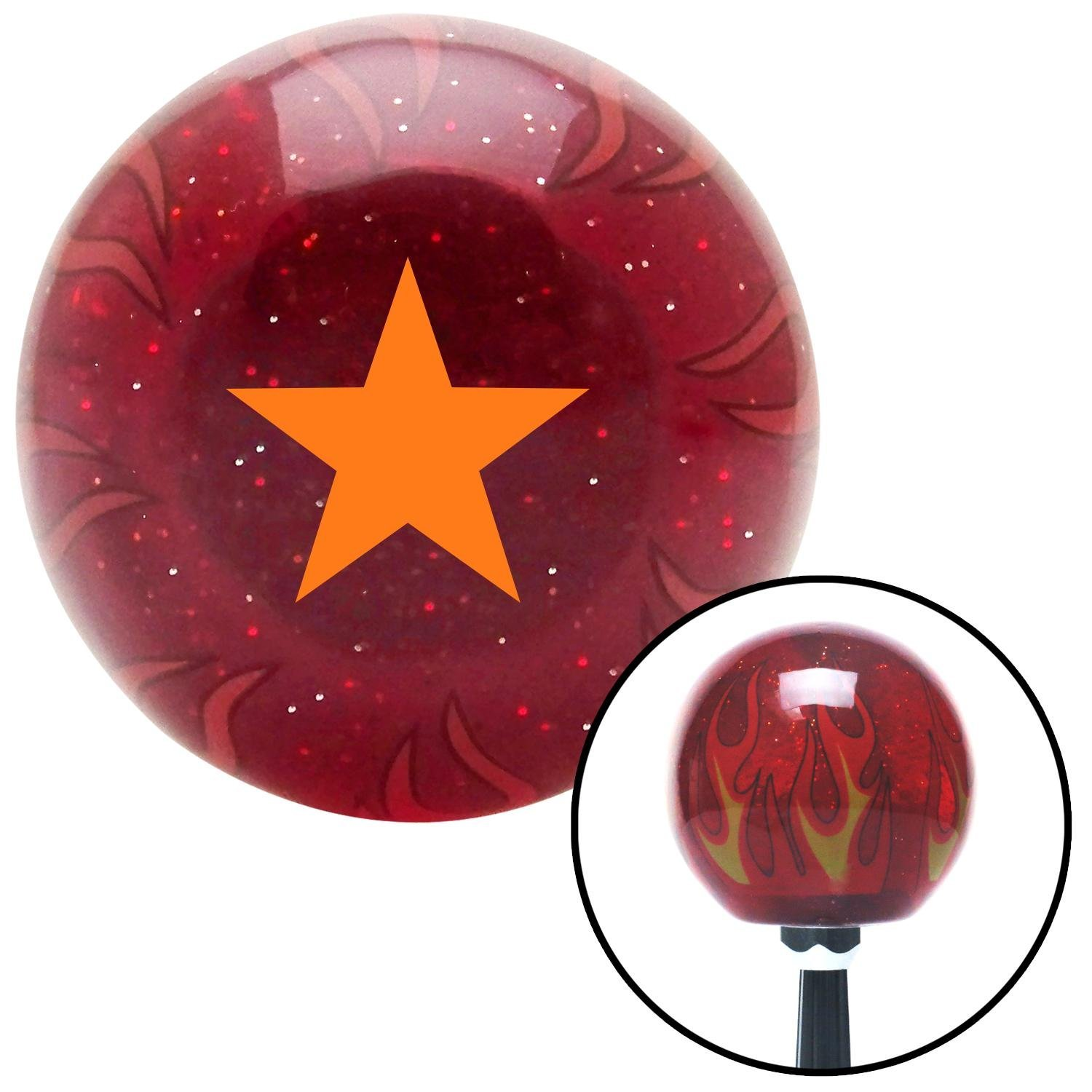 Orange Brigadier General American Shifter 241448 Red Flame Metal Flake Shift Knob with M16 x 1.5 Insert