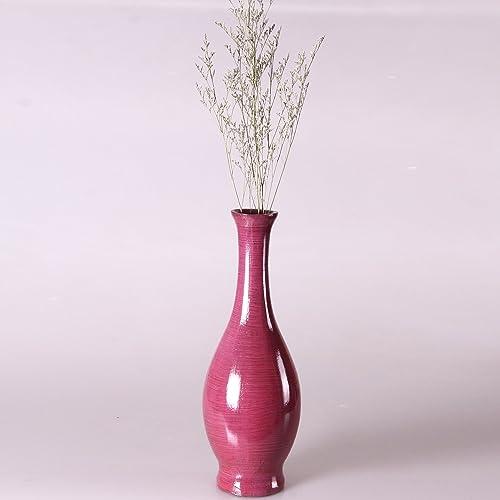 Adeco Decorative Wood Vase Smooth Gloss Finish, 15 , Purple