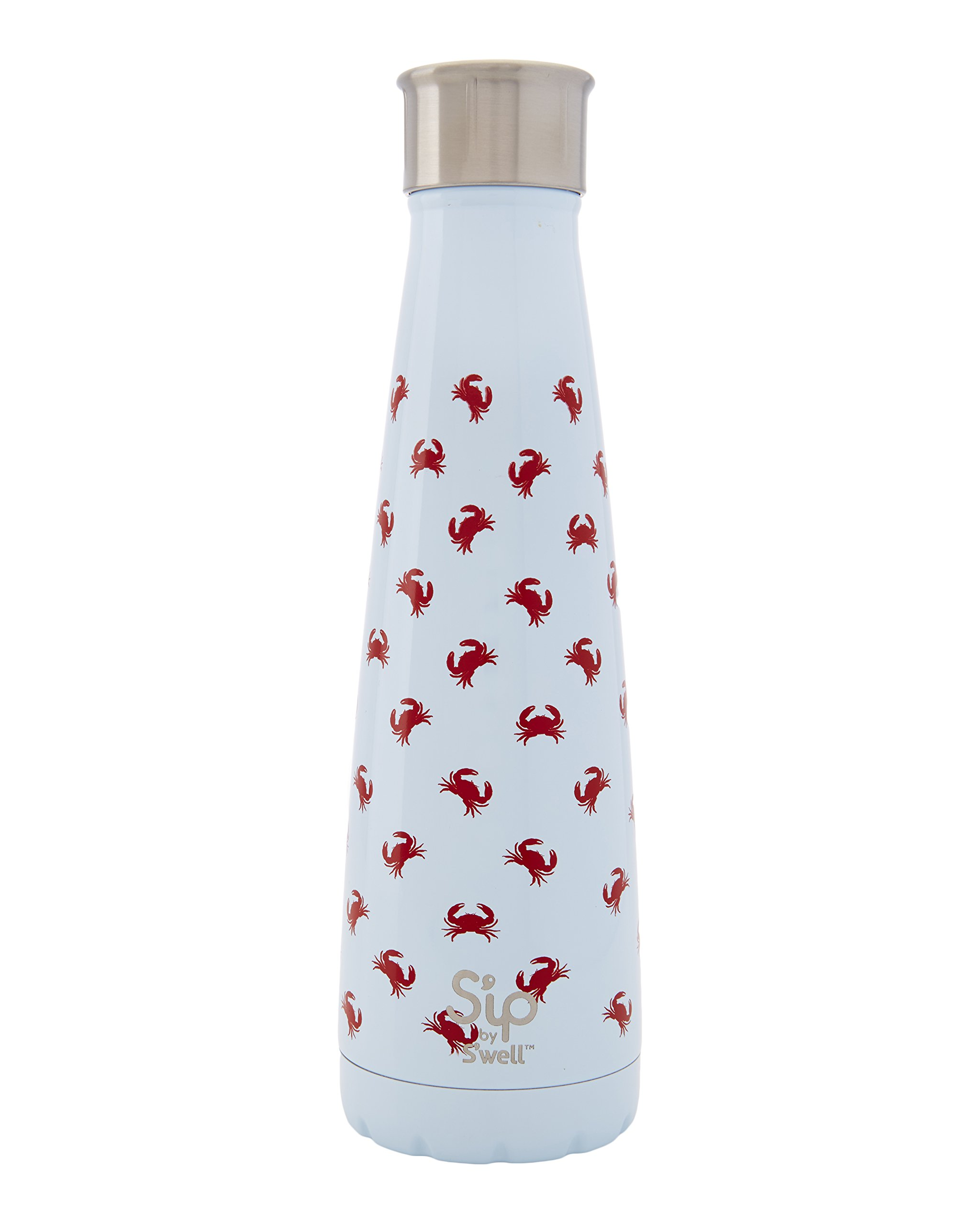 S'ip by S'well Vacuum Insulated Stainless Steel Water Bottle, Double Wall, 15 oz, Crab Walk