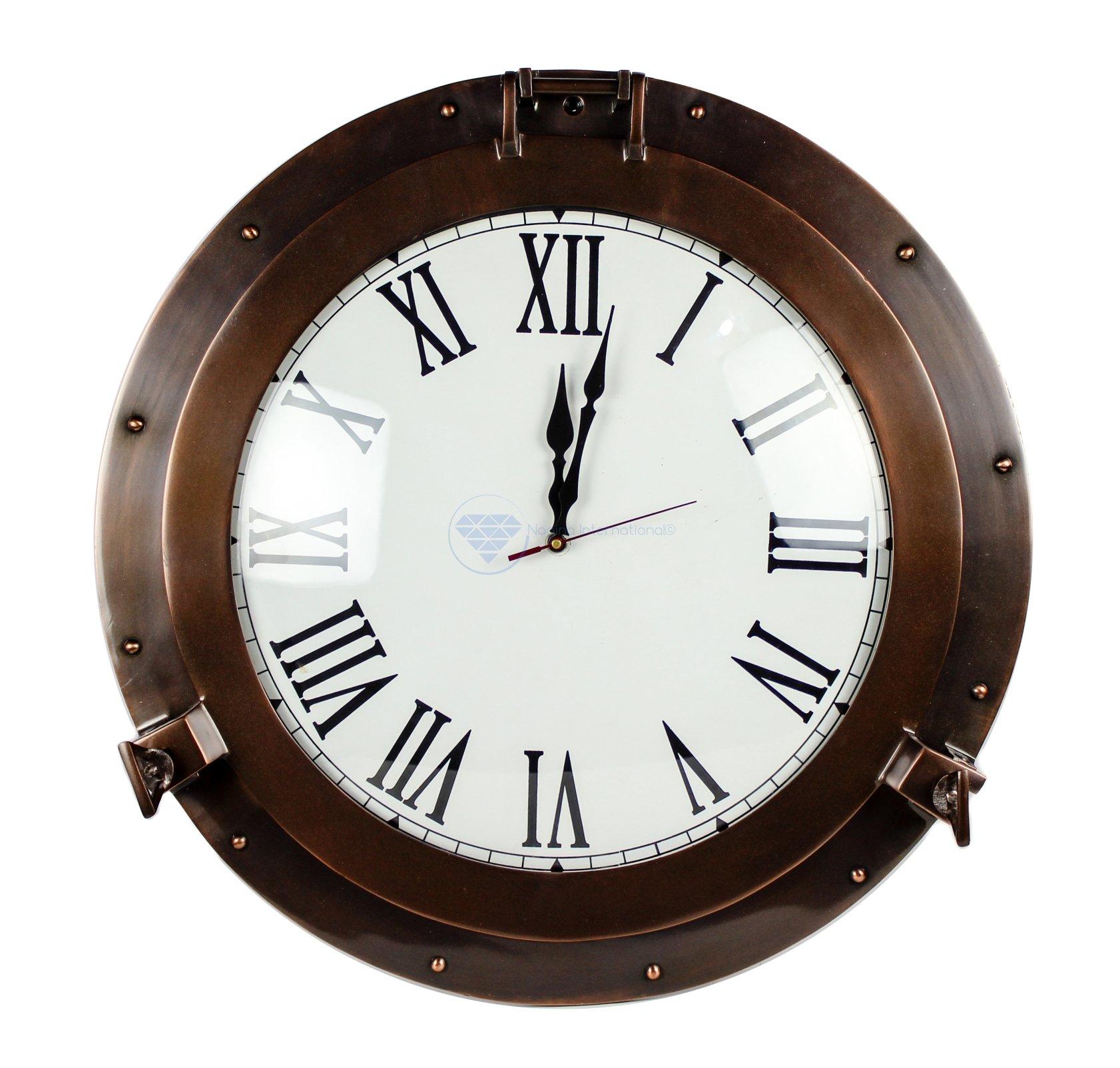 20'' Antique Matte Copper Brown Porthole Nautical Roman Clock   Large Lavish Sailor's Maritime Gift   Nagina International