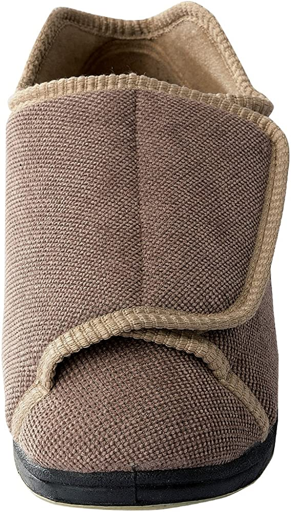 excellent quality cost charm speical offer Womens Extra Extra Wide Slippers - Swollen Feet - Adjustable Closure -  Taupe 8