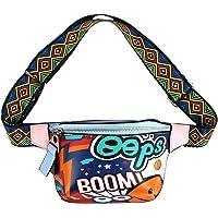 Monique 女式涂鸦印花腰包 Raves Disco 舞蹈腰包 包胸前背包挎包 2854 蓝色