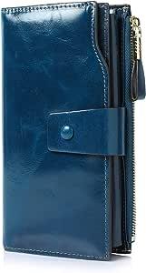Demon&Hunter Monedero Piel Mujer RFID Bloqueo Gran Capacidad Cera Cuero Cartera Monedero Azul DZA2083U