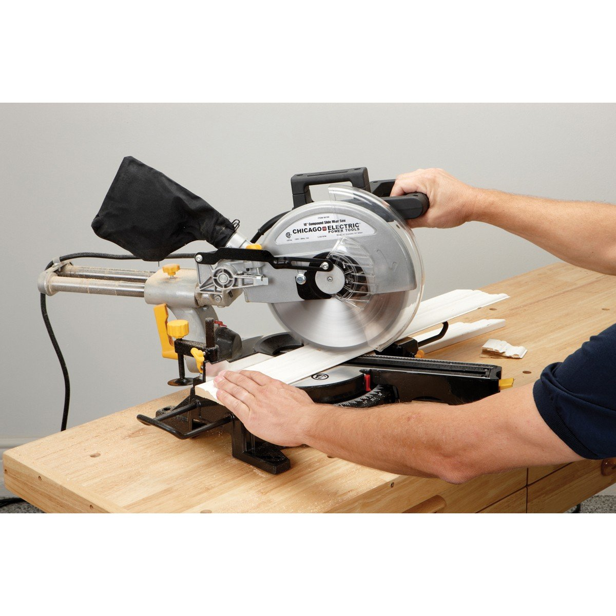 10 inch sliding compound miter saw with 45 degree bevel and dust bag 10 inch sliding compound miter saw with 45 degree bevel and dust bag extension bars and table clamp power miter saws amazon greentooth Choice Image