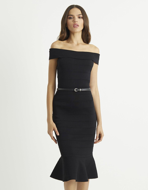 73cba58e3a7 Lipsy Womens Belted Flute Hem Dress - Black -  Amazon.co.uk  Clothing