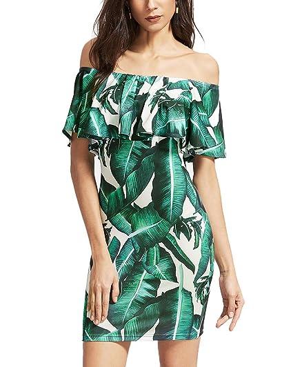 Vestido Corto de Fiesta Estampado Floral Coctel Para Mujer Verde S