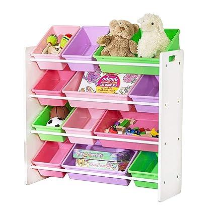 Merveilleux Toy Cubby Storage 4 Tier Bookcase With Bins Pastel Colourful Kids Toy  Organizer Decorative Playful Kids