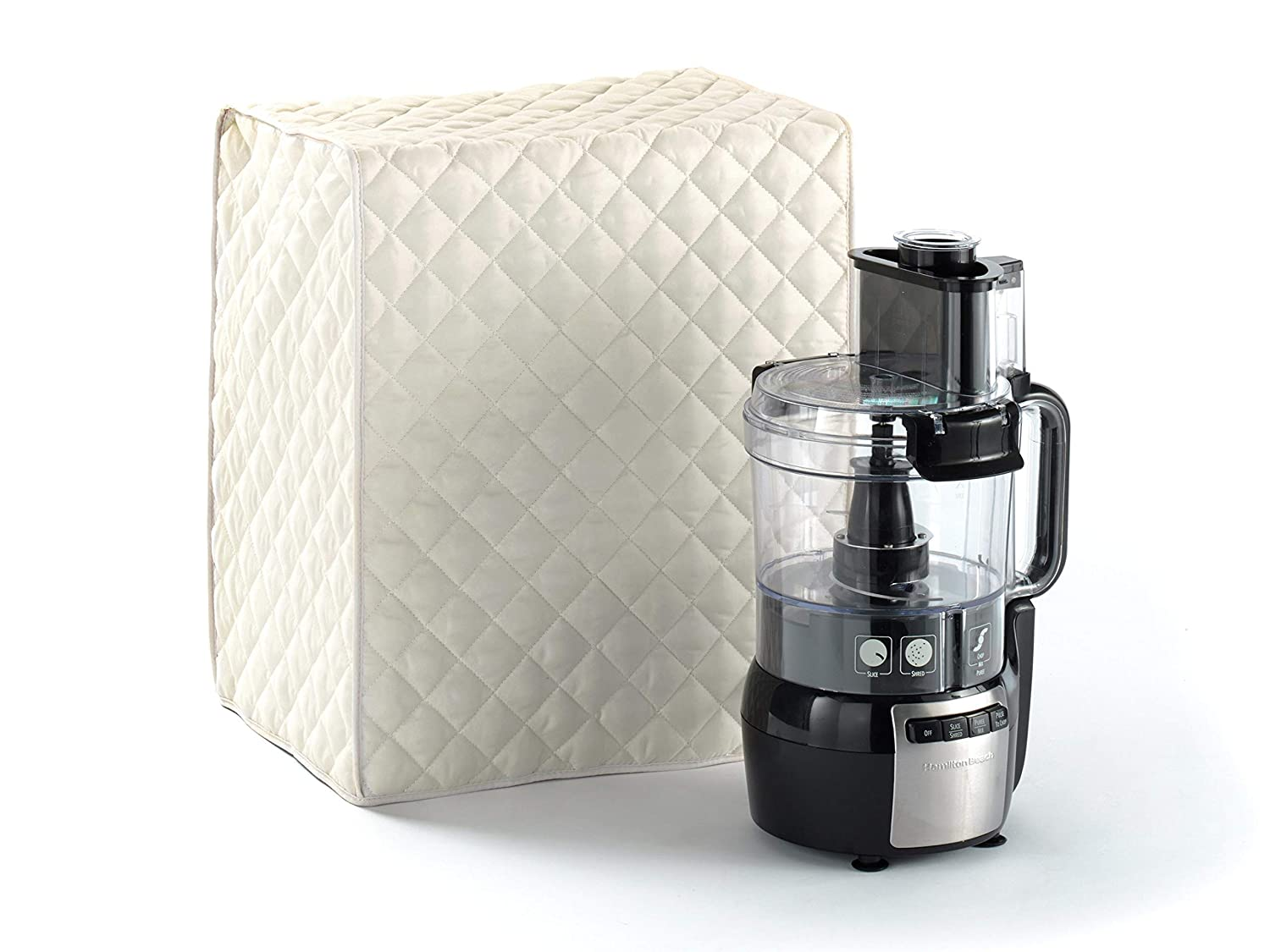 Covermates Food Processor Cover 15W x 11D x 18H Diamond Collection 2 YR Warranty Year Around Protection – Cream