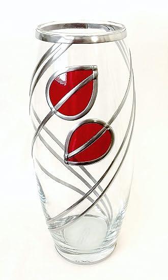 Beautiful Hand Crafted Heavy Glass Vase 25cm Rennie Mackintosh