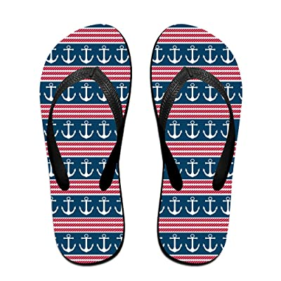 Anchor US Flag Pattern Unisex Fashion Beach Slipper Indoor And Outdoor Classical Flip Flops Thong Sandals