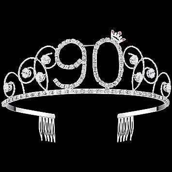 Amazon.com   BABEYOND Crystal Tiara Birthday Crown Princess Crown Hair  Accessories Silver Rhinestone Diamante Happy 16 18 20 30 40 50 60 70 80 90th  Birthday ... 72b87c995c0b