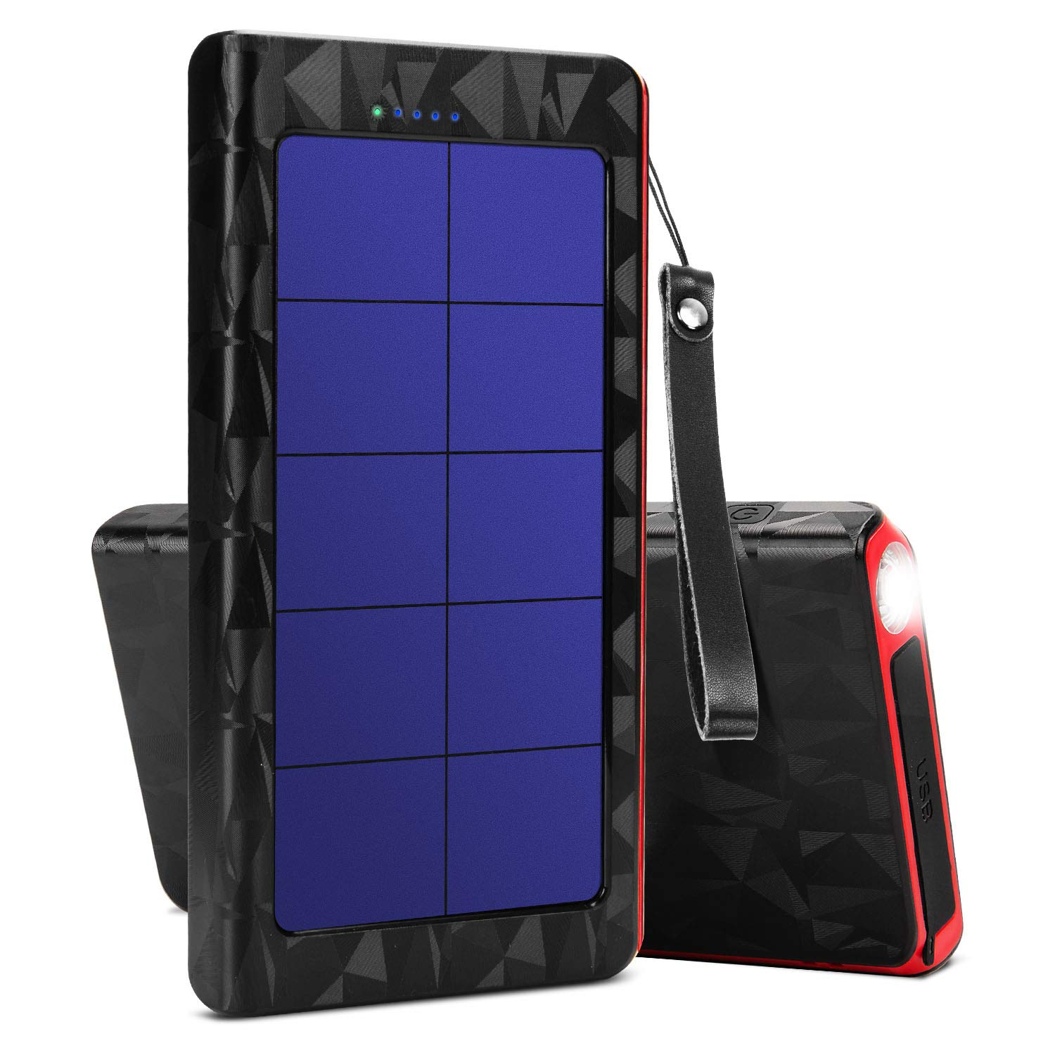 X-DNENG Solar Charger Power Bank 20000mAh High Efficiency Battery Backup with Dual USB & Type C Port for Backpacking Camping Hiking Tavel Outdoor Activities