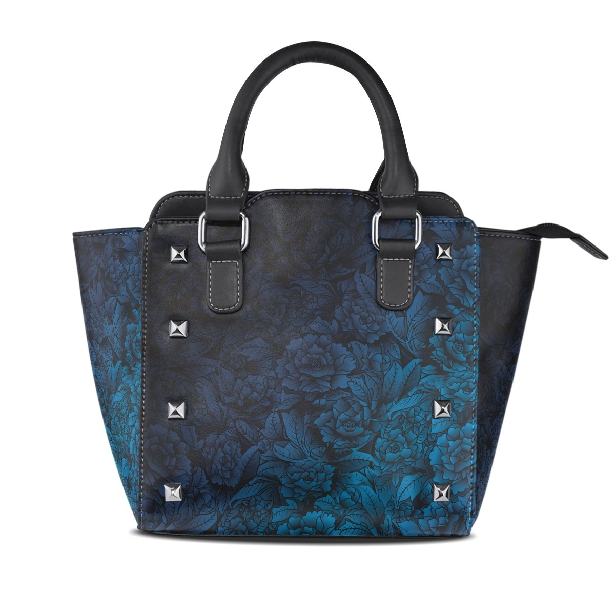 Womens Genuine Leather Hangbags Tote Bags blueeBlack Flower Purse Shoulder Bags